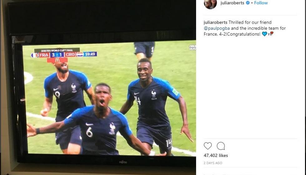 جوليا روبرتس تهنئ صديقها نجم كرة القدم الفرنسي بول بوغبا
