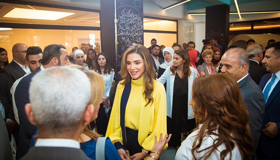 """الملكة رانيا العبدالله تُطلق منصة """"إدراك"""" للتعلُّم المدرسي"""