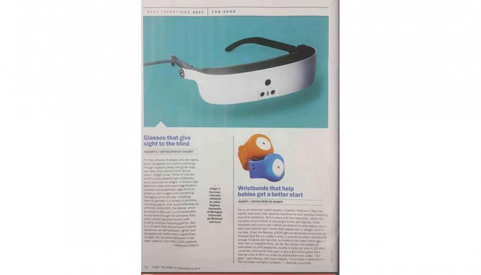 """مجلة """"تايم"""" تختار نظارات eSight 3 الإلكترونية بين أفضل 25 اختراعاً هذا العام"""